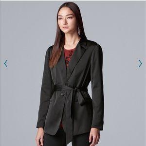 NWT Simply Vera Vera Wang satin tie waist blazer